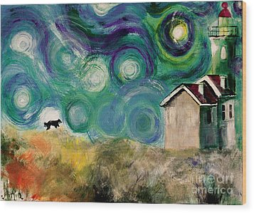 Wood Print featuring the painting Going Home by Maja Sokolowska