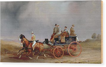 Going Shooting A Postillion And Pair With A Game Cart Wood Print by Charles Cooper Henderson
