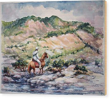 Wood Print featuring the painting Going Up To The Hills by Laila Awad Jamaleldin