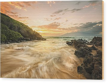 Gold And Blue Wood Print by Hawaii  Fine Art Photography