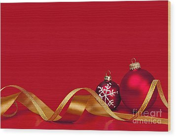 Gold And Red Christmas Decorations Wood Print by Elena Elisseeva