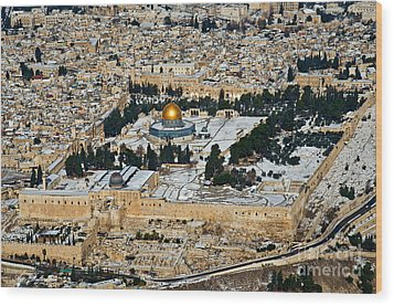 Gold And White In Jerusalem. Wood Print