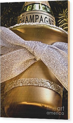 Gold Champagne Ornament Wood Print by Birgit Tyrrell