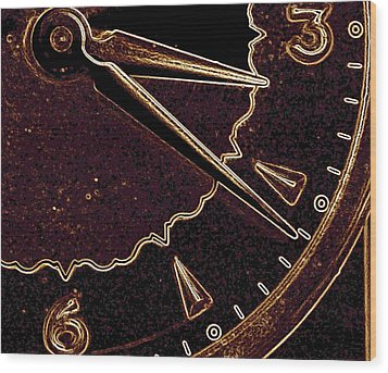 Wood Print featuring the photograph Gold Clock by Michael Dohnalek