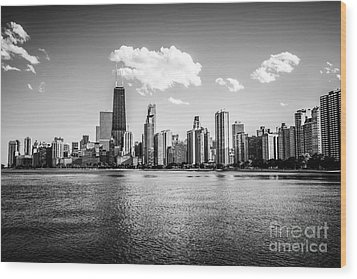 Gold Coast Skyline In Chicago Black And White Picture Wood Print by Paul Velgos