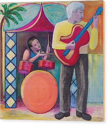 Gold Guitar Wood Print by Terrie  Rockwell