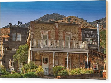 Gold Hill Hotel And Saloon Wood Print by Donna Kennedy