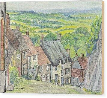 Gold Hill Shaftesbury Dorset England Wood Print by Carol Wisniewski