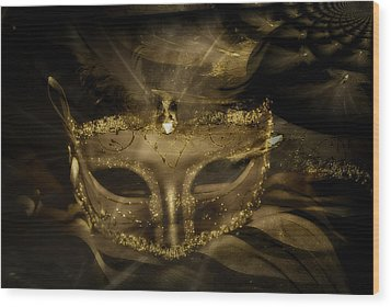 Gold In The Mask Wood Print