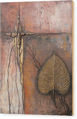 Gold Leaf Wood Print by Buck Buchheister