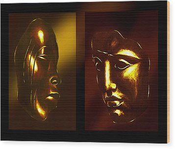 Gold Masks Wood Print by Hartmut Jager