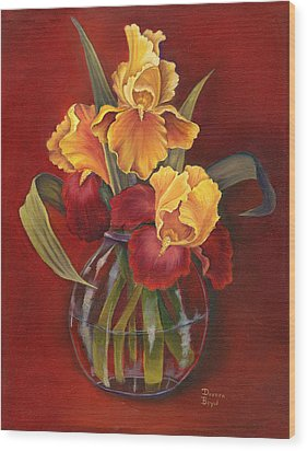 Gold N Red Iris Wood Print