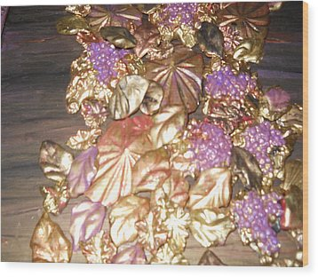 Gold Seashell Relief Wood Print by Suzanne Thomas
