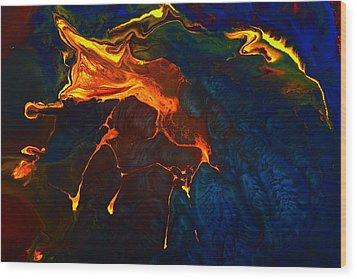 Gold Signature - Gold Orange Abstract Art By Kredart Wood Print by Serg Wiaderny