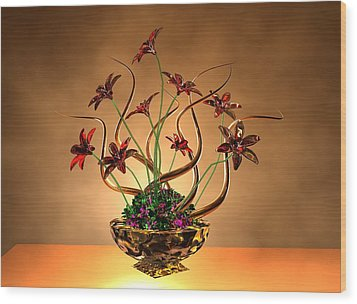 Gold Spirals Glass Flowers Wood Print by Louis Ferreira