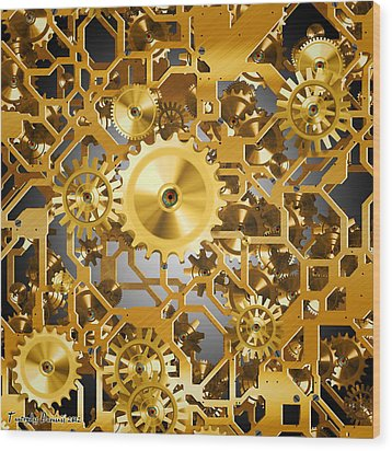 Gold Time.  Wood Print by Tautvydas Davainis