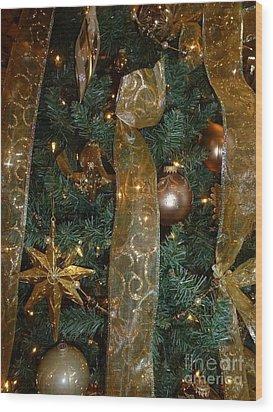 Gold Tones Tree Wood Print by Barbie Corbett-Newmin