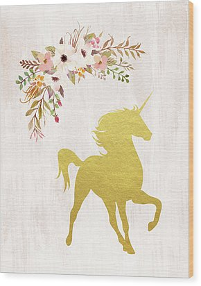 Gold Unicorn Floral Wood Print by Tara Moss