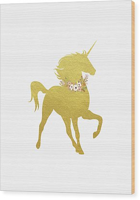 Gold Unicorn Wood Print by Tara Moss