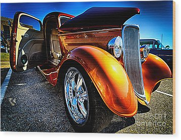 Gold Vintage Car At Car Show Wood Print by Danny Hooks