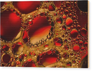 Gold With Red Rubies Wood Print
