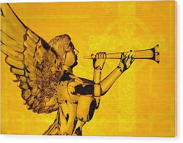 Golden Angel With Cross Wood Print by Denise Beverly