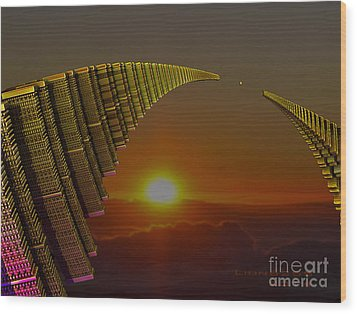 Wood Print featuring the digital art Golden Arches by Melissa Messick