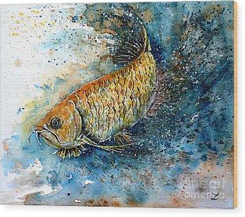 Golden Arowana Wood Print by Zaira Dzhaubaeva
