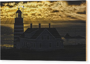 Golden Backlit West Quoddy Head Lighthouse Wood Print by Marty Saccone