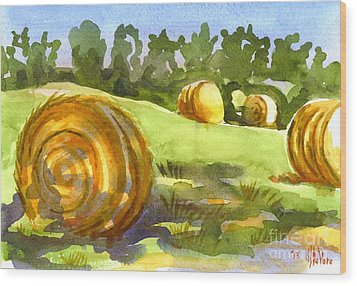 Golden Bales In The Morning Wood Print by Kip DeVore