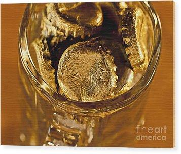 Golden Beer  Mug  Wood Print by Wilma  Birdwell