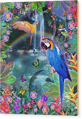 Golden Bluebirds Paradise Version 2 Wood Print by Alixandra Mullins