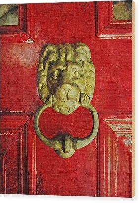 Golden Brass Lion On Red Door Wood Print