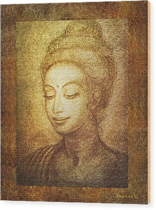 Golden Buddha Wood Print by Ananda Vdovic