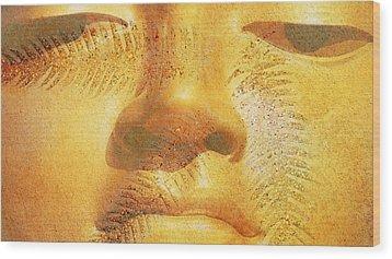 Golden Buddha - Art By Sharon Cummings Wood Print by Sharon Cummings