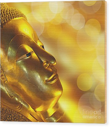 Golden Buddha Wood Print by Delphimages Photo Creations