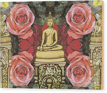 Wood Print featuring the painting Golden Buddha In The Garden by Joseph J Stevens
