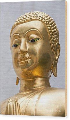 Golden Buddha Statue Wood Print by Antony McAulay