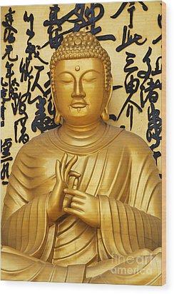 Golden Buddha Statue At The World Peace Pagoda Pokhara Wood Print by Robert Preston