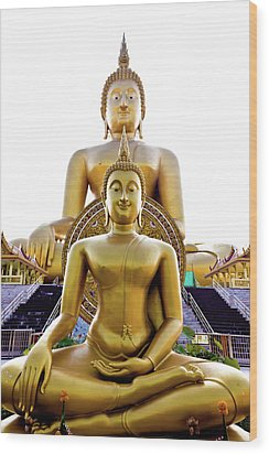 Golden Buddha Statue  Wood Print by Tosporn Preede