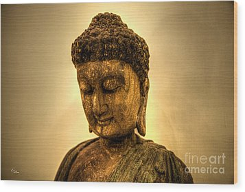 Golden Buddha Wood Print by T Lang