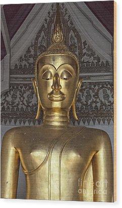 Golden Buddha Temple Statue Wood Print by Antony McAulay