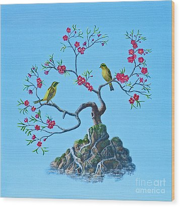 Wood Print featuring the painting Golden Bush Robins In Old Plum Tree by Anthony Lyon