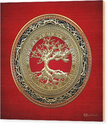 Golden Celtic Tree Of Life  Wood Print