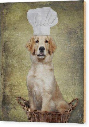 Golden Chef Wood Print by Susan Candelario