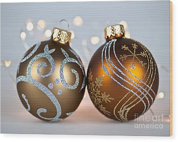 Golden Christmas Ornaments Wood Print by Elena Elisseeva
