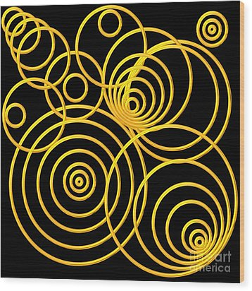 Golden Circles Optical Illusion Wood Print by Rose Santuci-Sofranko