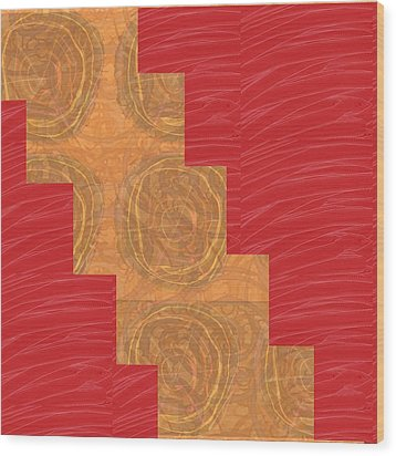Golden Circles Red Sparkle  Wood Print by Navin Joshi
