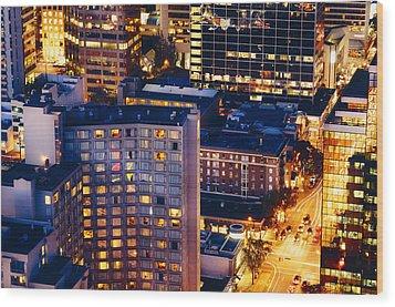 Golden Cityscape Vancouver Mcccl Wood Print