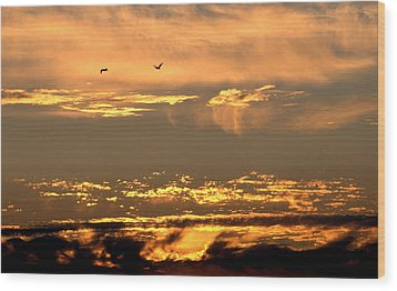 Wood Print featuring the photograph Golden Clouds by AJ  Schibig